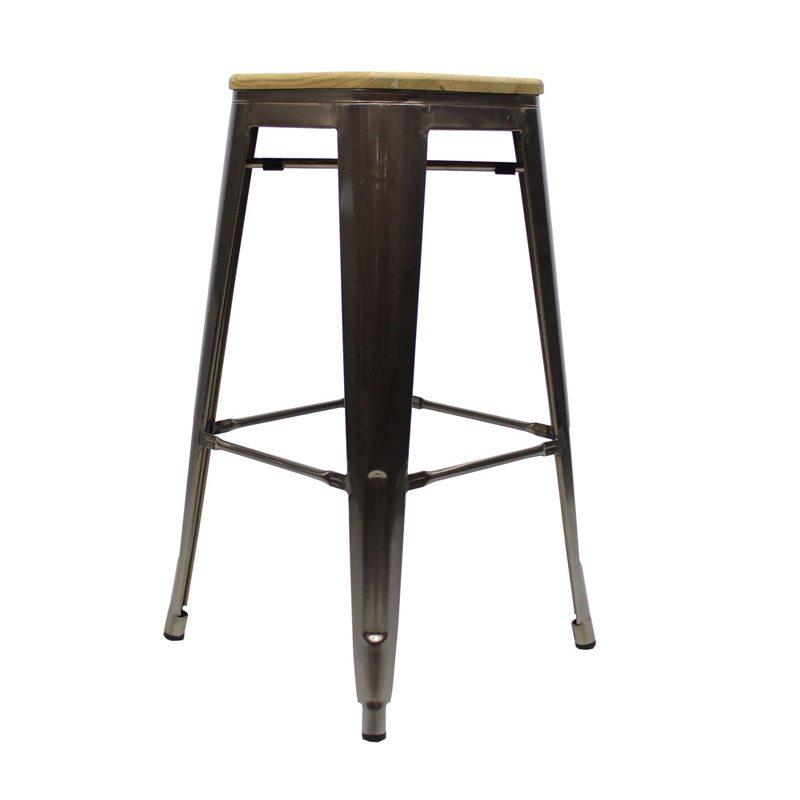 Retro caf barkruk met houten zitting - Tolix staalontwerp ...